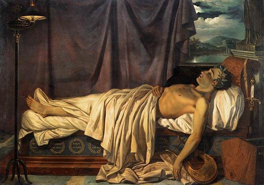 J. D. Odevaere, Lord Byron op zijn doodsbed, 1826. Brugge, Groeningemuseum
