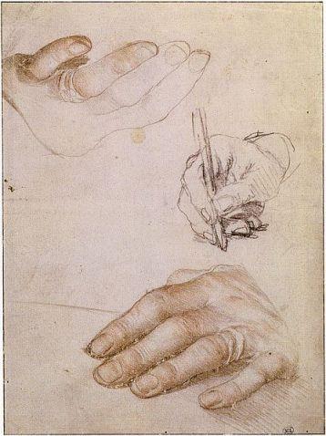 Hans Holbein d.J., Schets van Erasmus' handen, Parijs, Louvre