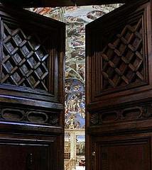 Toegang naar de Sixtijnse kapel vanuit de Sala Regia, Vaticaanstad