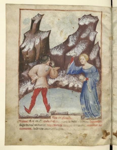 Daarzie! Sneeuwballengevecht, in Tacuinum Sanitatis, 1390-1400, Parijs, BNF (NAL 1673 fol. ç§ v)