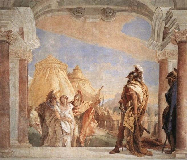 Tiepolo, Agamemnon neemt Briseïs in ontvangst, 1757, Villa Valmarana, Vicenza