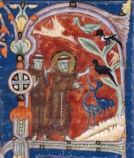 """S. Francesco predica agli uccelli"""", Codice miniato (sec. XIII),  Museo Civico Amedeo Lia, La Spezia"""