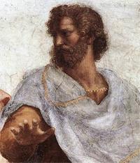 Rafael, Aristoteles (detail van De school van Athene), Stanza della segnatura, Vaticaan
