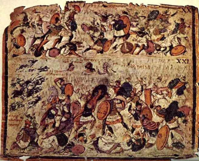 Gevechtsscène, Iliasmanuscript 5de eeuw, Milaan, Biblioteca Ambrosiana