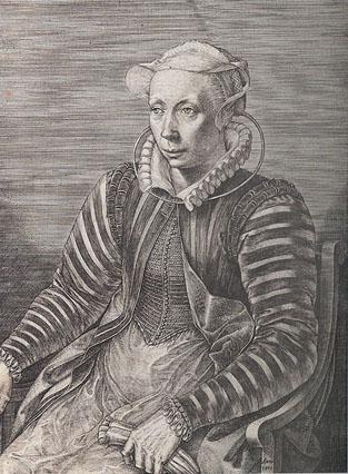 J. Wierix, Portret van Volxcken Dierix, prentenhandelaarster, 1579, Koninklijke Bibliotheek van België, Prentenkabinet. (detail)