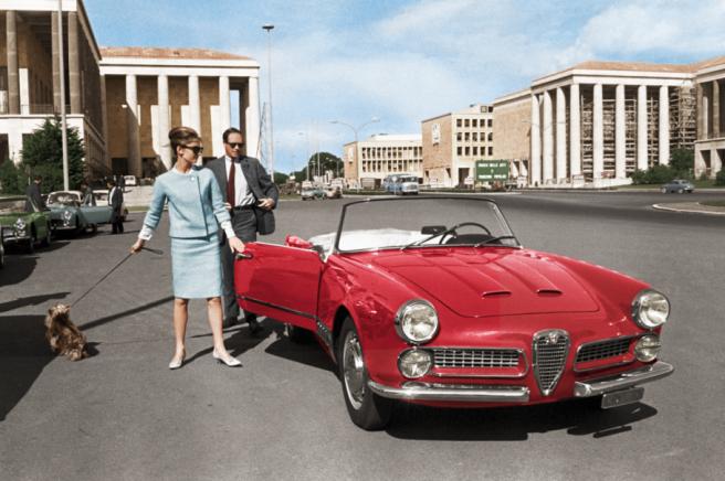 Audrey Hepburn met Mr. Ferrer en Mr. Famous,, Piazza Marconi, Rome, 1960