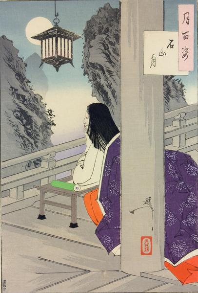 Vrouwe Murasaki schrijft bij maanlicht, Yoshitoshi, 1889, British Museum