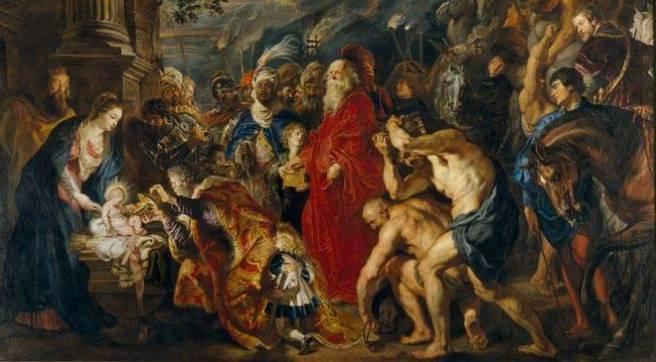 Rubens, Aanbidding der wijzen, 1609; door hemzelf vergroot ca. 1628-1629; Madrid, Prado