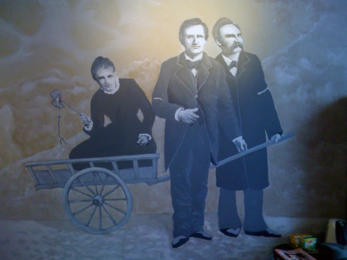 Lou Andreas-Salomé, Paul Rée en Friedrich Nietzsche (fresco door J. Beulen)