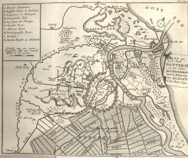 Plan van de Stad Dantzich en der zelver Buitenwerken met de Beleegering der Russen in den Jaare 1734