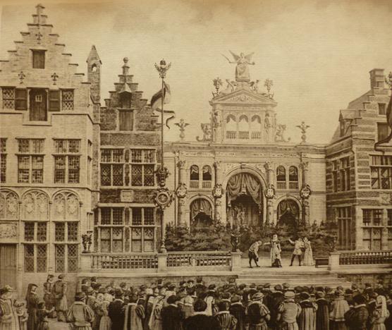 Toneelopvoering op de Merckt in Oud Antwerpen