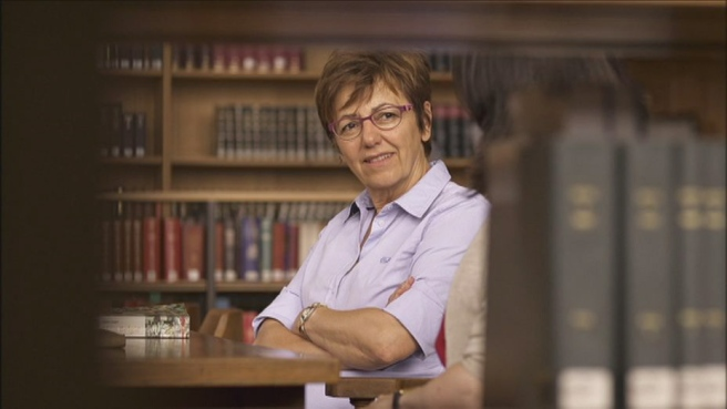 Met Frieda Van Wyck in de kleine zaal van de Leuvense universiteitsbibliotheek