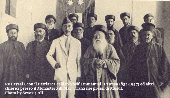 Faisal I van Irak met Chaldeeuwse bisschoppen
