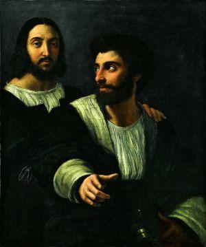 Rafael, Zelfportret met Giulio Romano, Louvre, Parijs