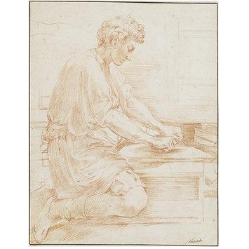 Parmigianino, Een leerling maalt pigment. Victoria & Albert Museum, Londen.