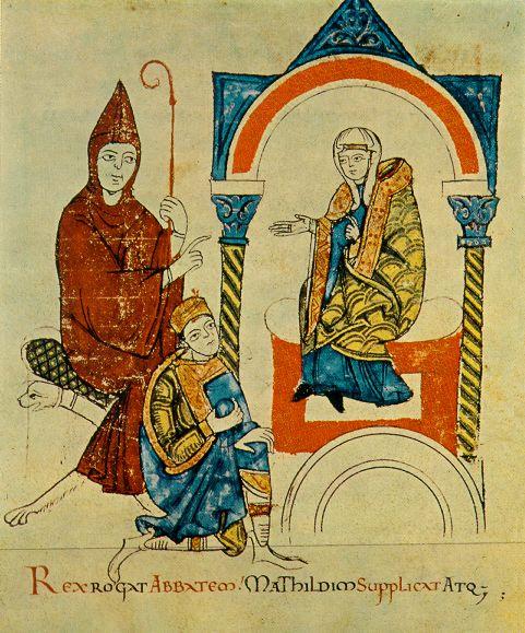 Investituurstrijd: keizer hendrik IV vraagt abt Hugo van Cluny en gravin Mathilde van Toscane om voor hem te bemiddelen bij de paus. Cod. vat. lat-4922 1115ad