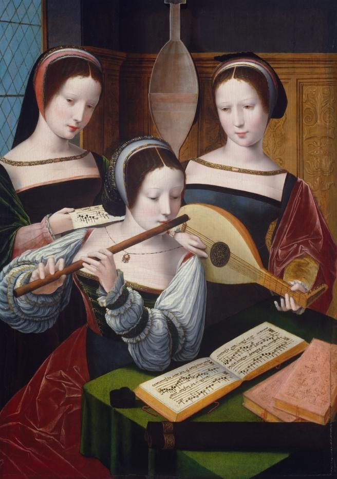 Meester van de vrouwelijke halffiguren, Drie musicerende dames, ca. 1530, Schloss Rohrau